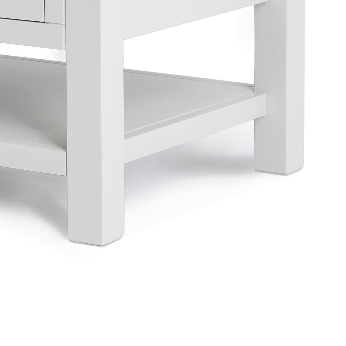 Farrow Grey Coffee Table with Drawer - Lower shelf and feet of table