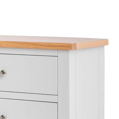 Farrow Grey large 3 over 3 Chest of Drawers - Close up of Oak top on chest