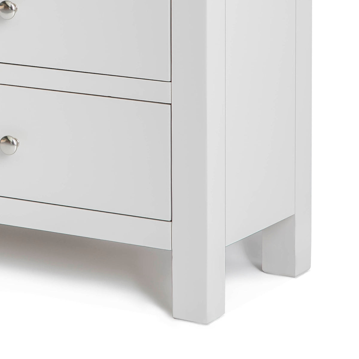 Farrow Grey large 3 over 3 Chest of Drawers - Close up of side of base