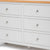 Farrow Grey large 3 over 3 Chest of Drawers - Close up of front of drawers on chest