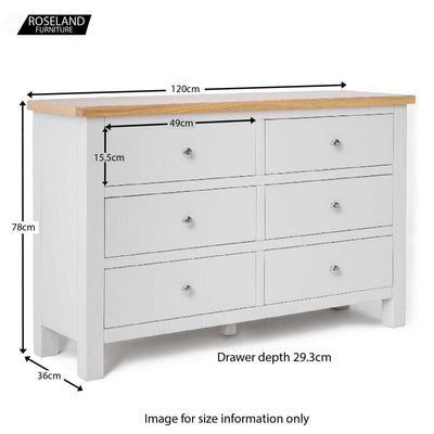 Farrow Grey 3+3 Drawer Chest of Drawers - Size Guide