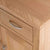 close up of the solid oak top edge on the London Oak Mini Sideboard by Roseland Furniture.