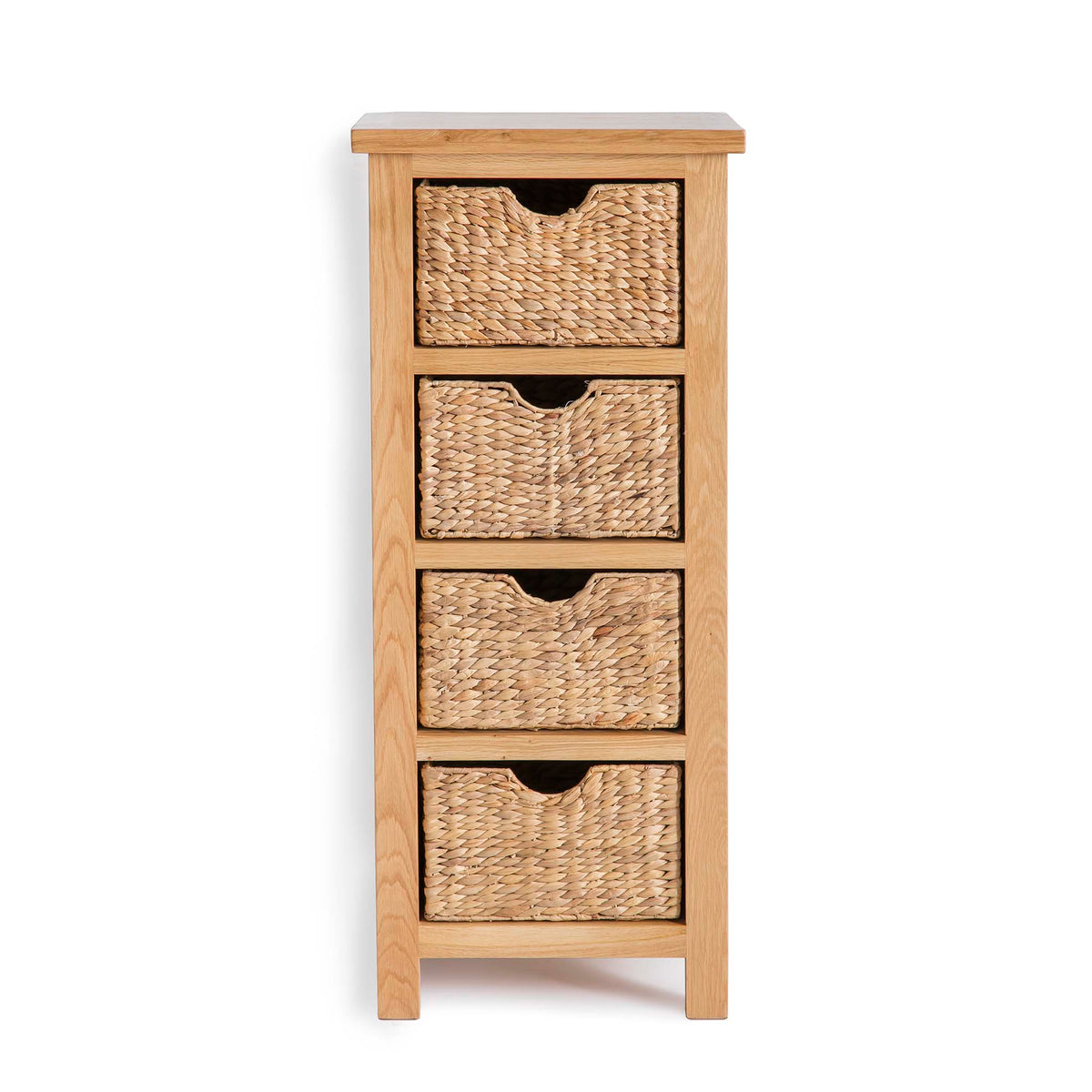 London Oak Tallboy with Baskets by Roseland Furniture
