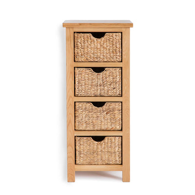 London Oak Tallboy with Baskets - Front view