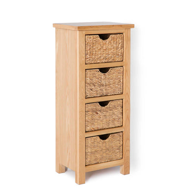London Oak Tallboy with Baskets - Side view
