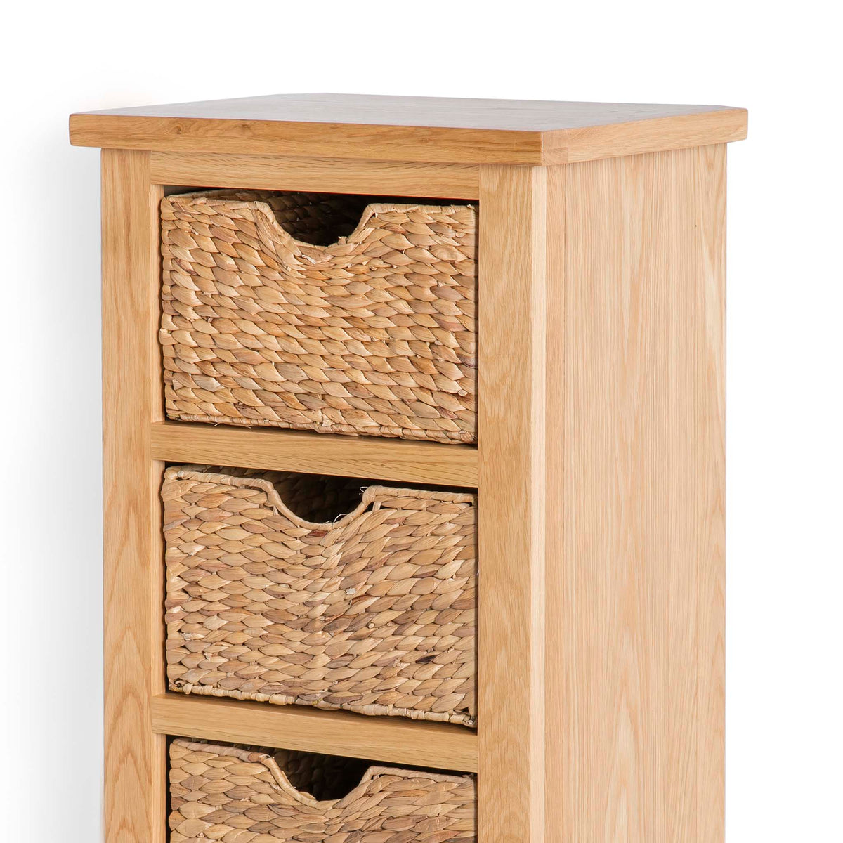 London Oak Tallboy with Baskets - Close up of top of tallboy