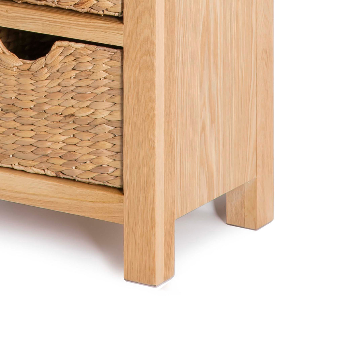 London Oak Tallboy with Baskets - Close up of base of tallboy