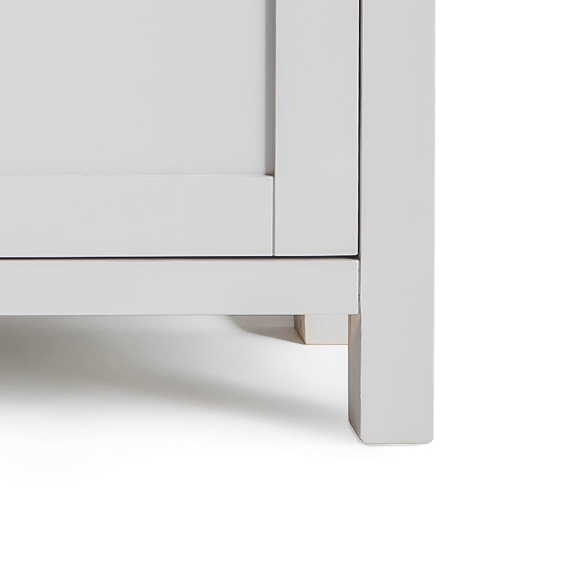 Farrow Grey Mini Sideboard - Close up of base of sideboard