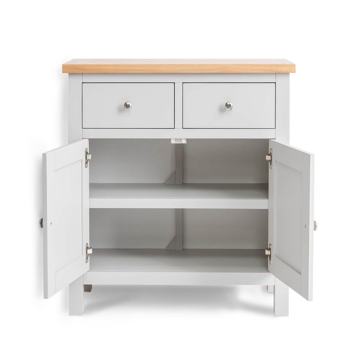 Farrow Grey Mini Sideboard - Front view with cupboard doors open