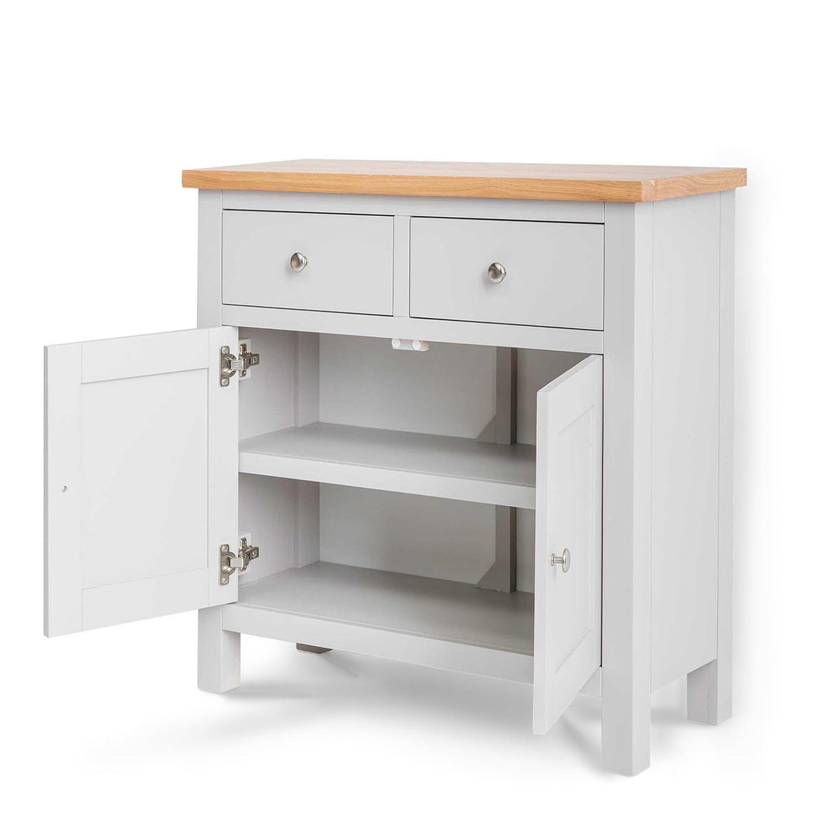 Farrow Grey Mini Sideboard - Side view with cupboard doors open