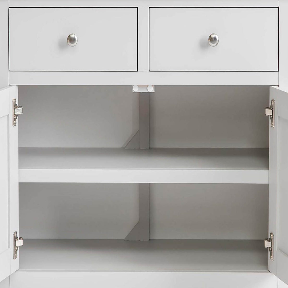 Farrow Grey Mini Sideboard - Close up of fixed shelf inside cupbaord