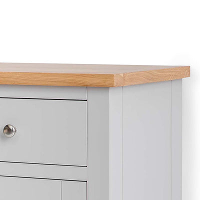 Farrow Grey Mini Sideboard - Close up of Oak top of sideboard