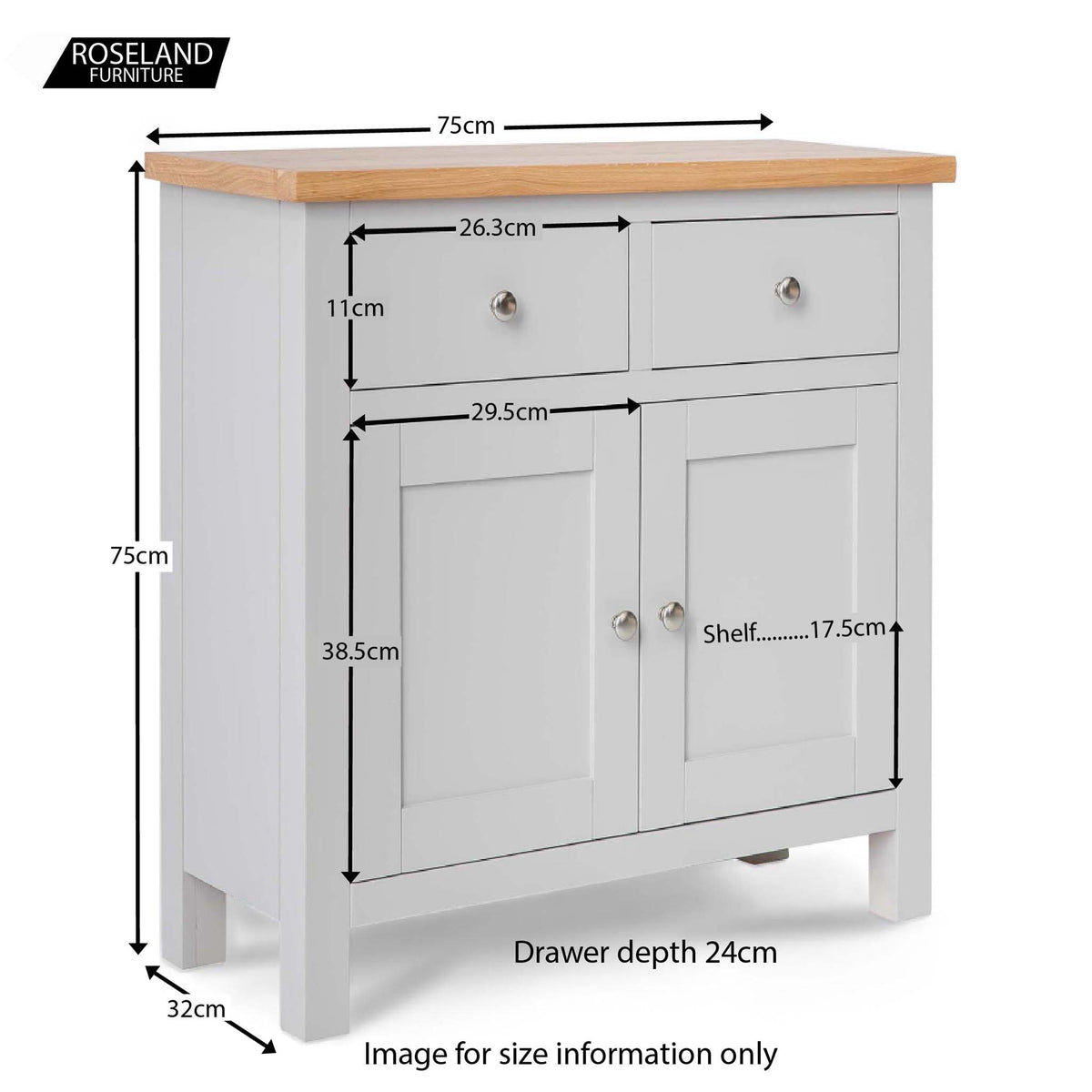 Farrow Grey Mini Sideboard - Size Guide