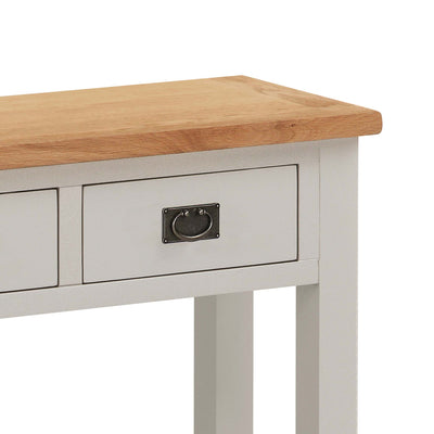 close up of drawer with steel drop handle on the Dorset Stone Grey Console Table