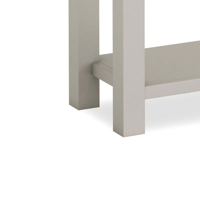 close up of legs on the Dorset Stone Grey Console Table