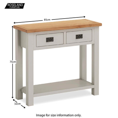Dorset Stone Grey Console Table size guide