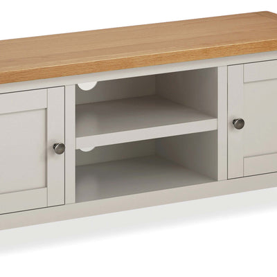 close up of open shelves on the Dorset Stone Grey Large TV Unit