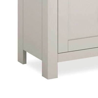 close up of stone grey painted legs on the Dorset Stone Grey Large TV Unit