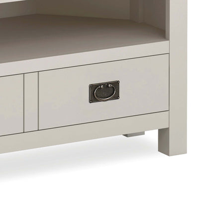 close up of painted drawer and drop handle on the Dorset Stone Grey Corner TV Unit