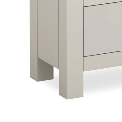 close up of painted stone grey legs on the Dorset Stone Grey Corner TV Unit