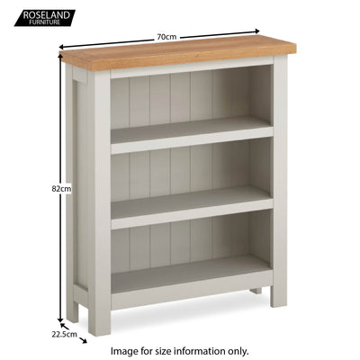 Dorset Stone Grey Low Bookcase size guide