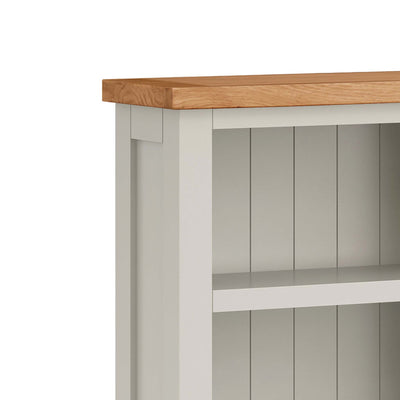 close up of waxed oak top on the Dorset Stone Grey Narrow Bookcase
