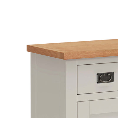 close up of waxed oak top on the Dorset Stone Grey Mini Sideboard Cabinet