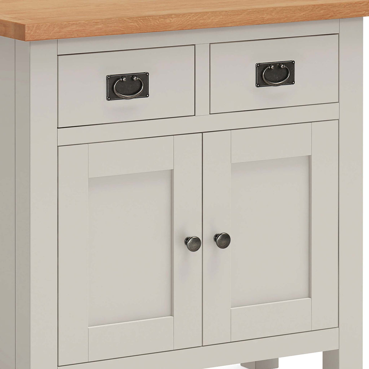 close up of bevelled doors on the Dorset Stone Grey Mini Sideboard Cabinet