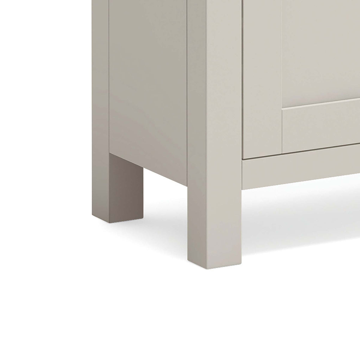 close up of the stone grey painted solid wood legs on the Dorset Stone Grey Mini Sideboard Cabinet