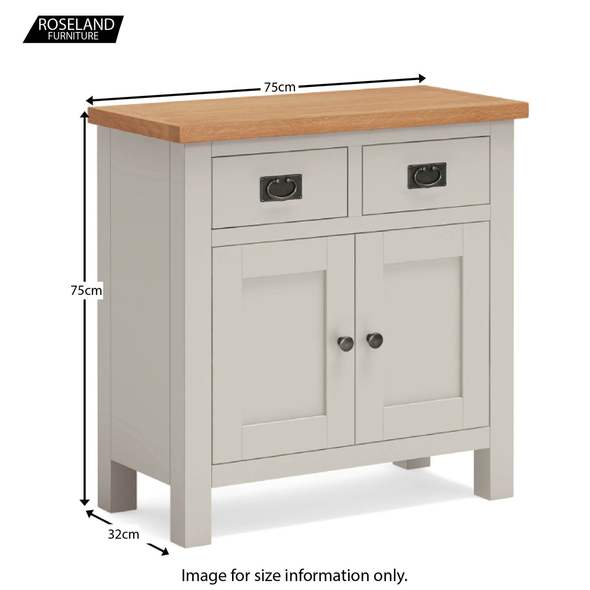 Dorset Stone Grey Mini Sideboard Cabinet size guide
