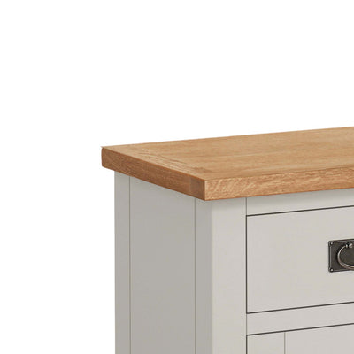 close up of waxed oak top on the Dorset Stone Grey Small Sideboard Cabinet