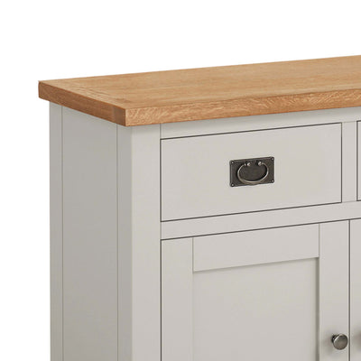close up of drawer and drop handles on the Dorset Stone Grey Small Sideboard Cabinet