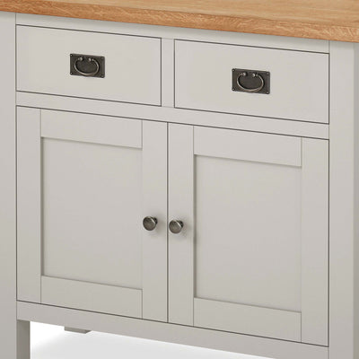 close up of bevelled doors on the Dorset Stone Grey Small Sideboard Cabinet