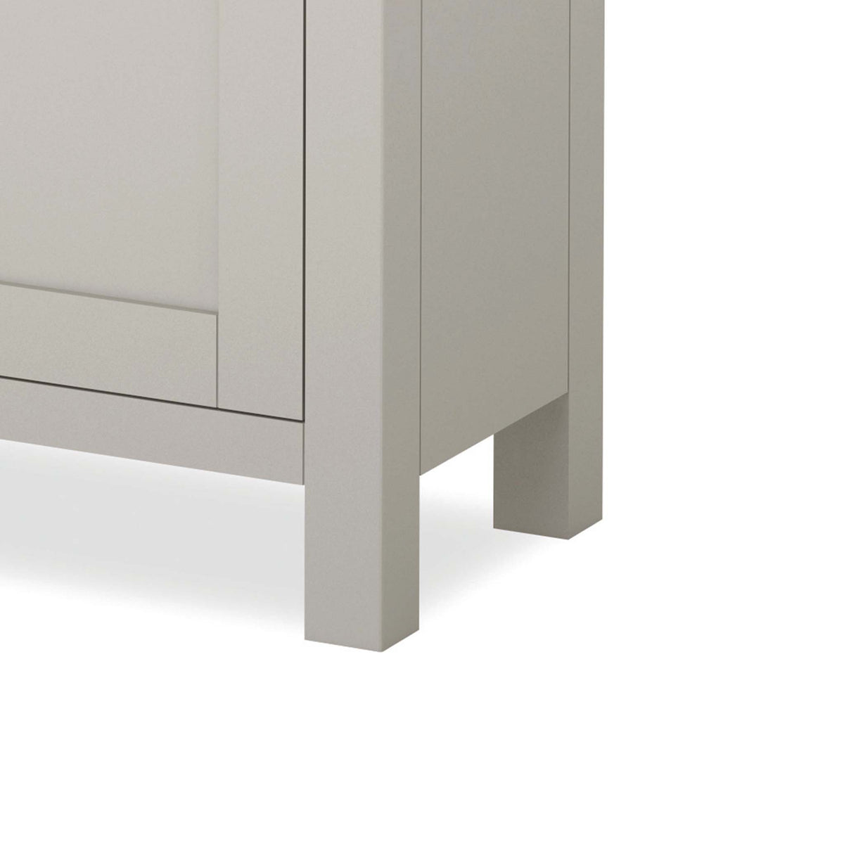 close up of stone grey painted solid wood legs on the Dorset Stone Grey Small Sideboard Cabinet