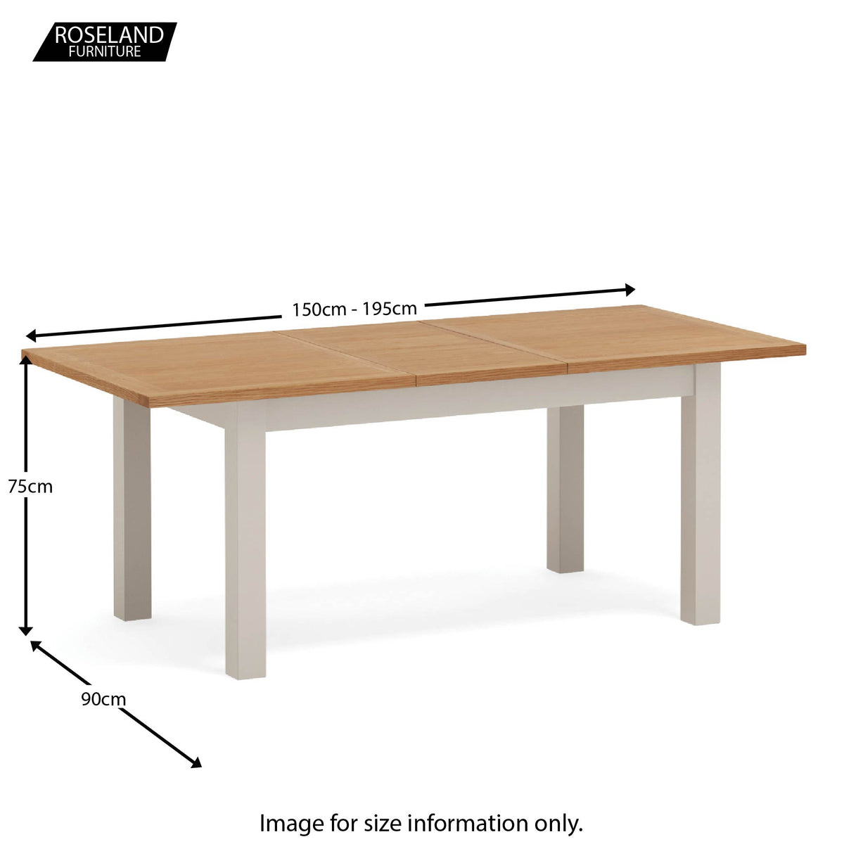 Dorset Stone Grey Small Extending Dining Table size guide