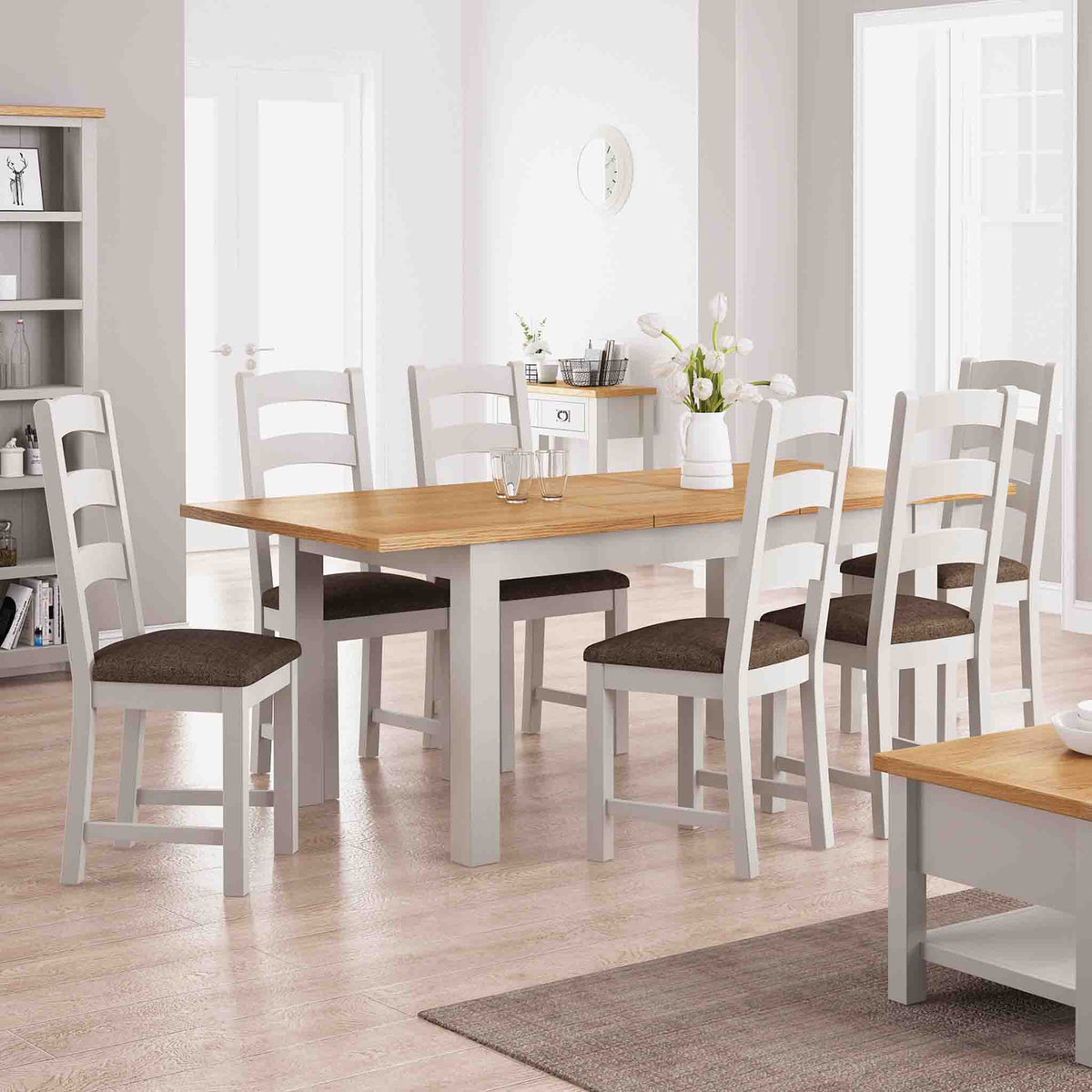 Dorset Stone Grey Ladder Back Dining Chair lifestyle image