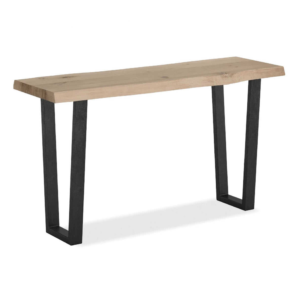 Oak Mill Console Table - Metal Base - White Oil by Roseland Furniture
