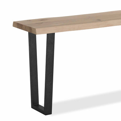 Oak Mill Console Table - Metal Base - White Oil