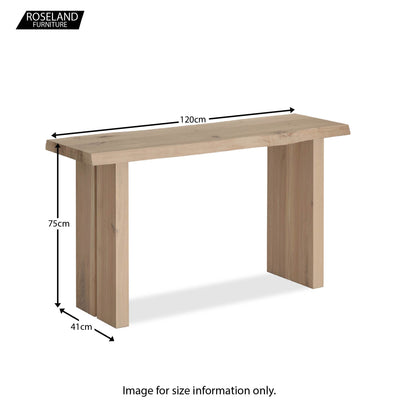 Dimensions - Oak Mill Console Table - Wood Base - White Oil
