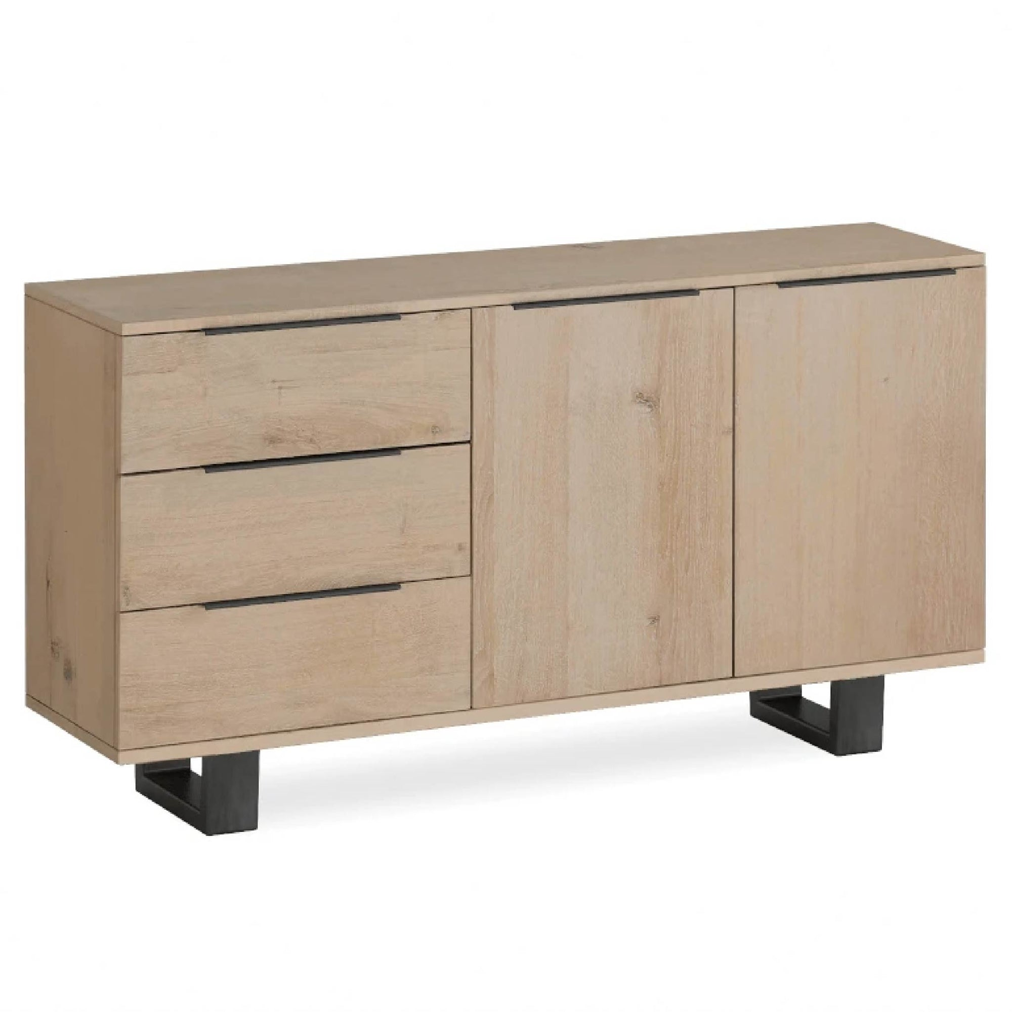 Oak Mill Small Sideboard - Metal Base - White Oil by Roseland Furniture