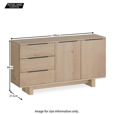 Dimensions - Oak Mill Small Sideboard  - Wood Base - White Oil