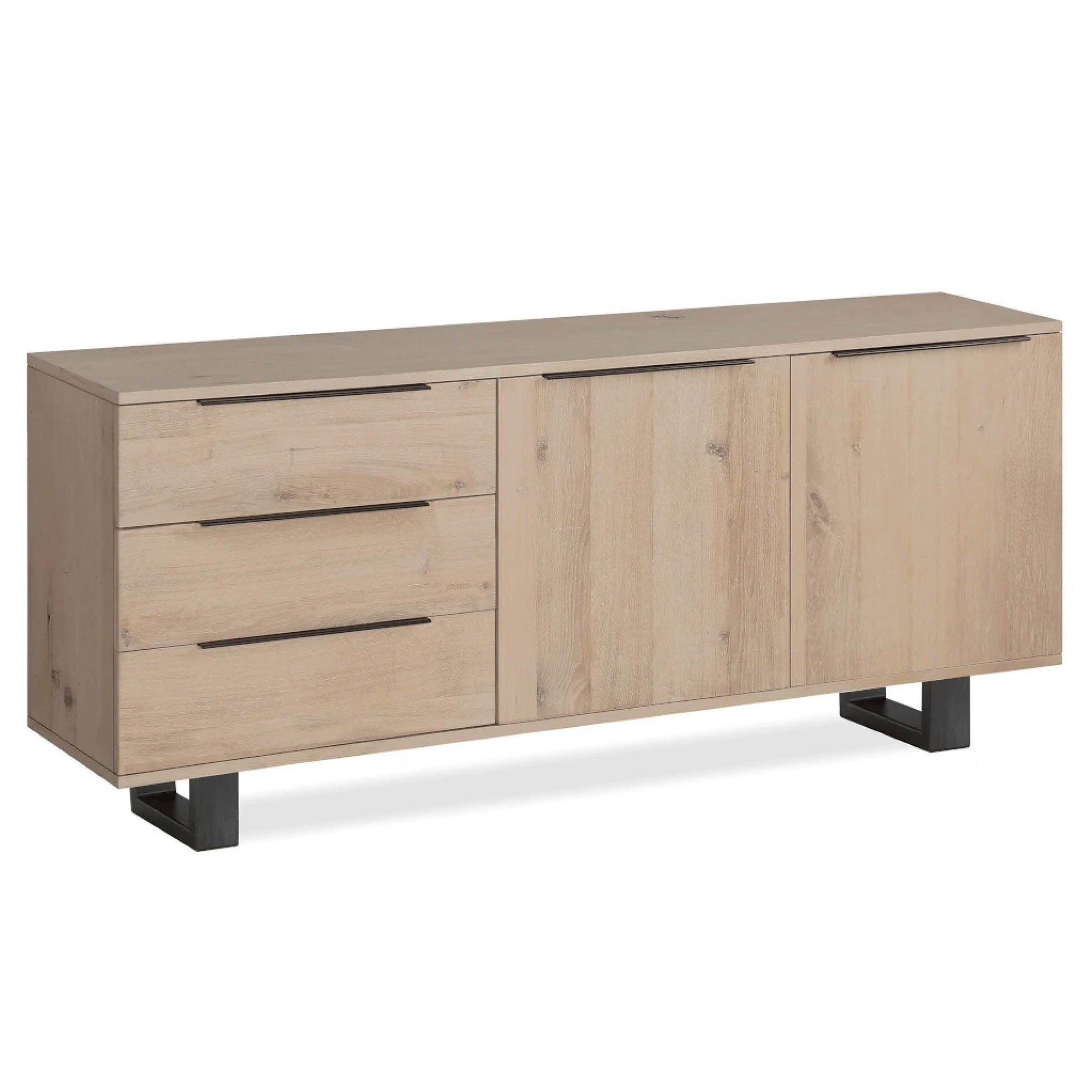 Oak Mill Large Sideboard - Metal Base - White Oil by Roseland Furniture