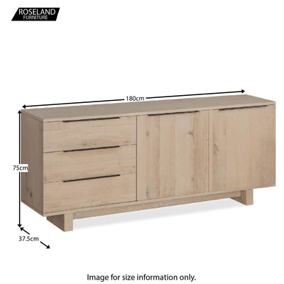 Dimensions - Oak Mill Large Sideboard - Wood Base - White Oil
