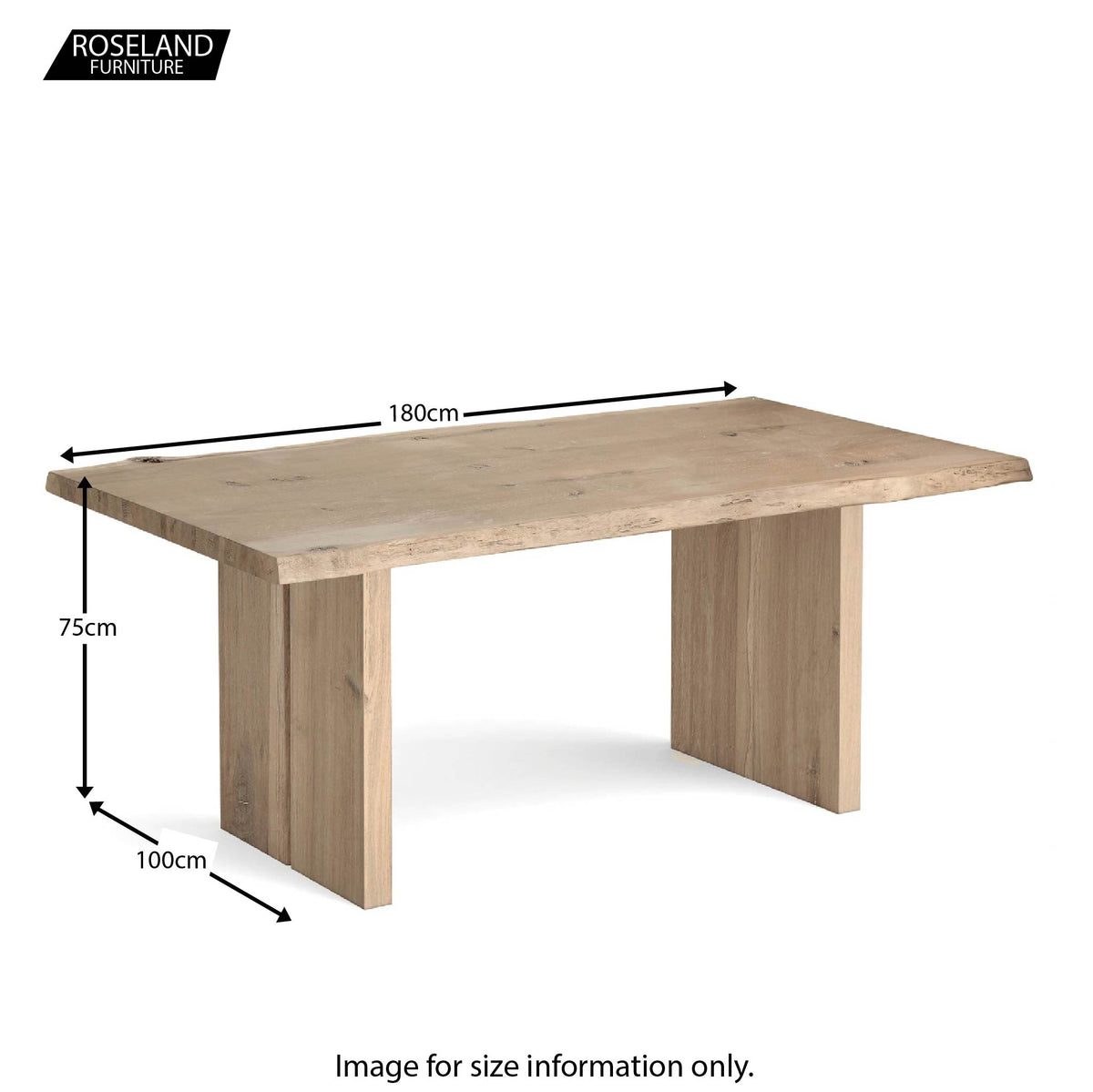 Dimensions - Oak Mill 180cm Dining Table - Wood Base - White Oil