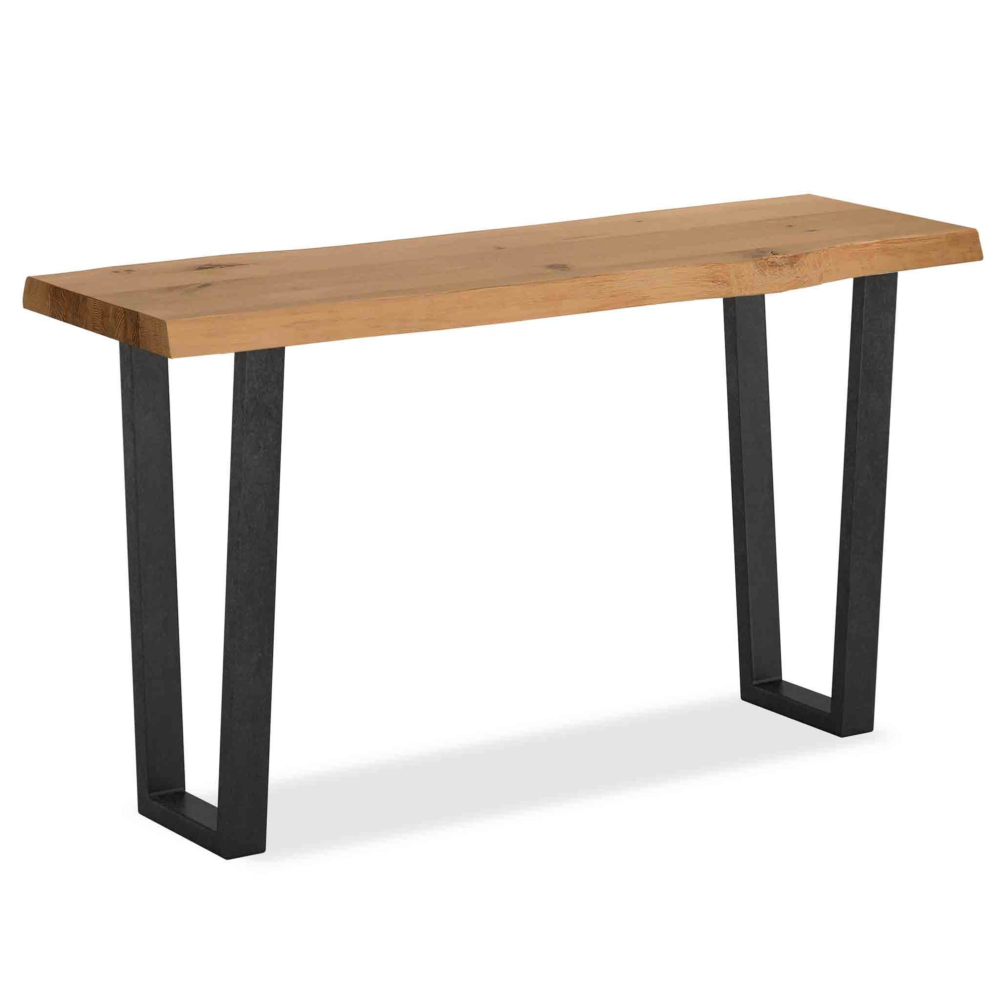 Oak Mill Console Table - Metal Base - Waxed Oak by Roseland Furniture