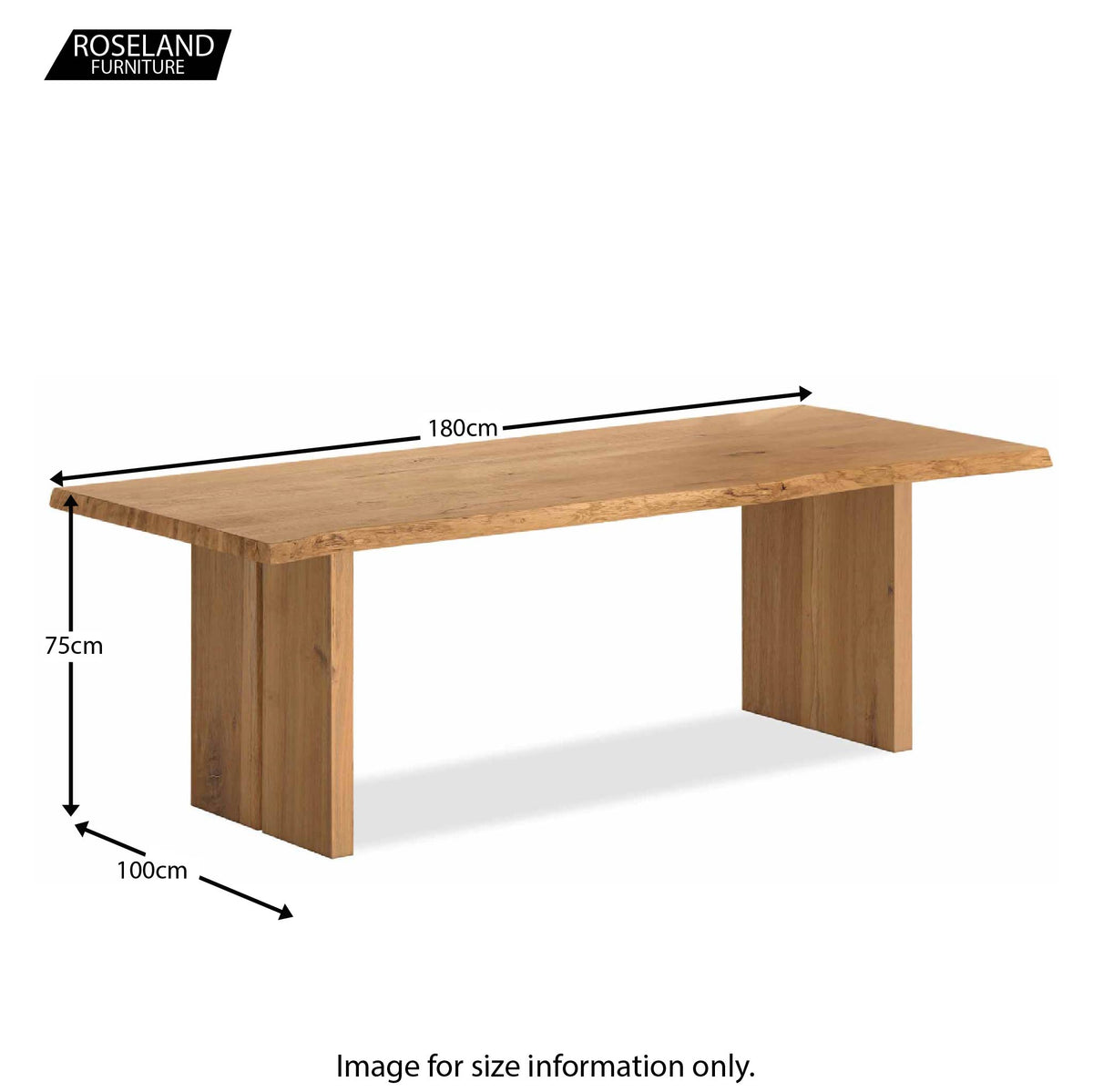 Dimensions - Oak Mill 180cm Dining Table - Wood Base - Waxed Oak
