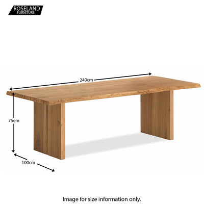 Dimensions - Oak Mill 240cm dining Table - Wood Base - Waxed Oak