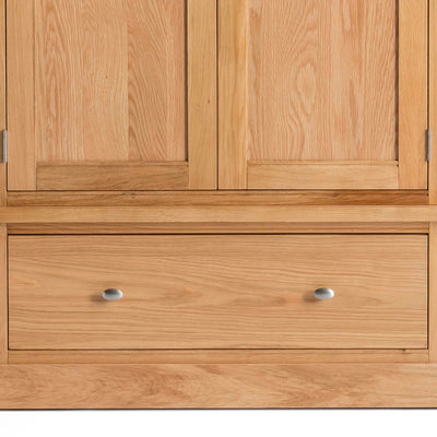 Hampshire Oak Double Wardrobe with Drawer - Close up of lower storage drawer front