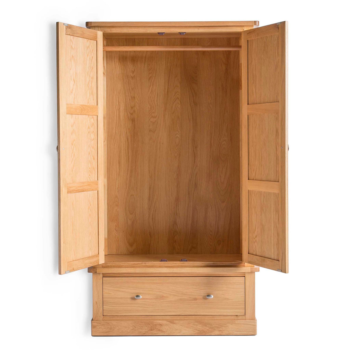 Hampshire Oak Double Wardrobe with Drawer - Front view with wardrobe doors open