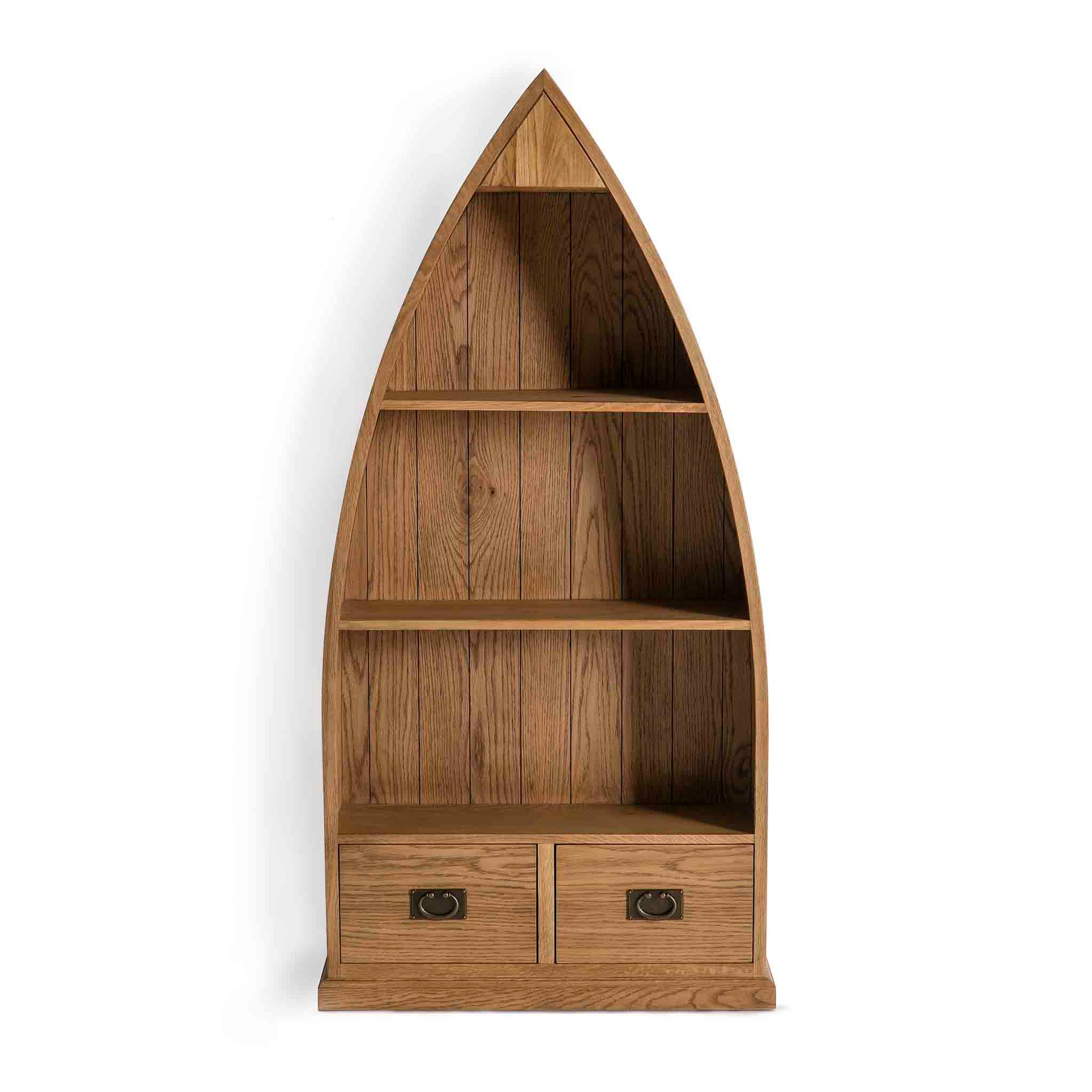 Surrey Oak boat bookcase with lower storage drawers by Roseland Furniture